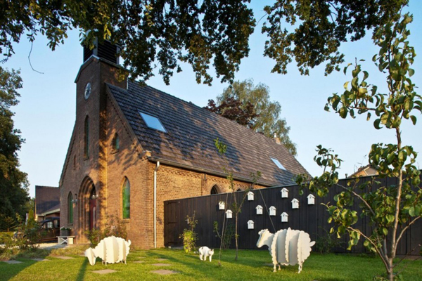church patio Dutch Church Transformation Into Beautiful and Playful Home