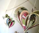 Paper Shakespearean garland of hearts made from paper