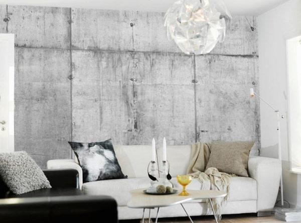 concrete wallpaper – white couch