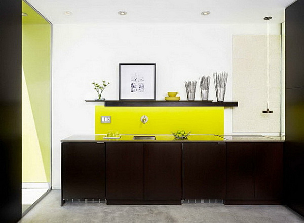 contemporary kitchen furniture with green and yellow