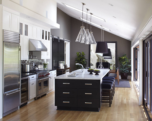 dark grey and silver colors for a modern kitchen  Decoist