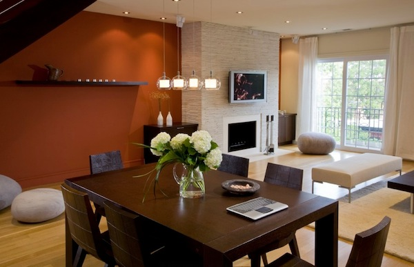 Choosing the ideal accent wall color for your dining room - Burnt orange feature wall living room ...