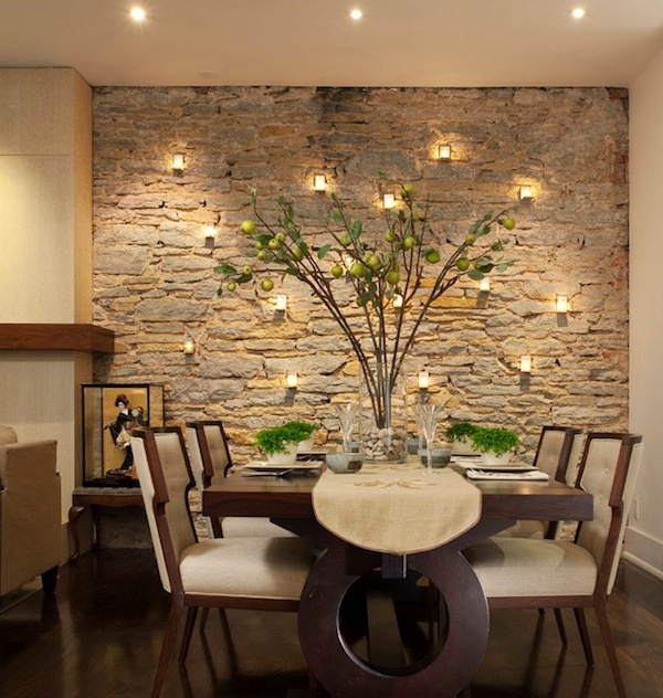 view in gallery dining room accent wall stone - Dining Room Wall Colors