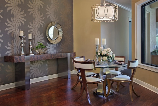 Choosing the ideal accent wall color for your dining room for Wallpaper for dining room feature wall