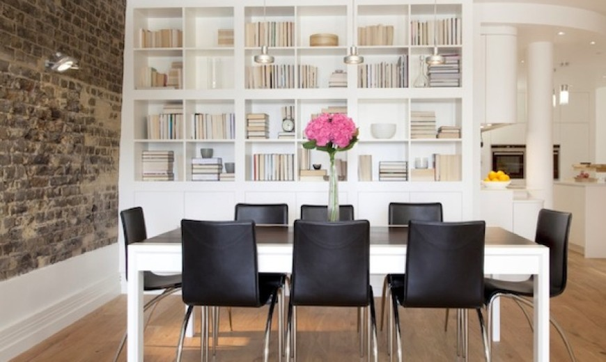 displaying books dining room