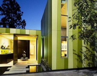 Modern Minimalist Home in Los Angeles Stuns With Its Colorful Green Theme