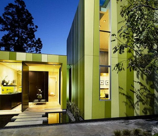 green stripes house exterior paint Modern Minimalist Home in Los Angeles Stuns With Its Colorful Green Theme