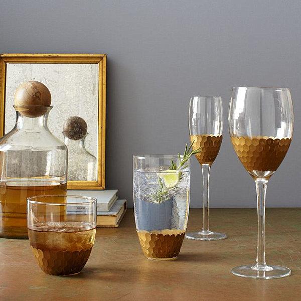 Handpainted glassware in gold