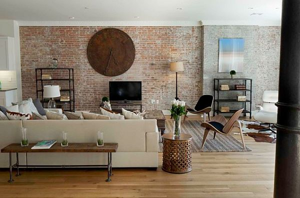 Adding an exposed brick wall to your home for Decoration murale hipster