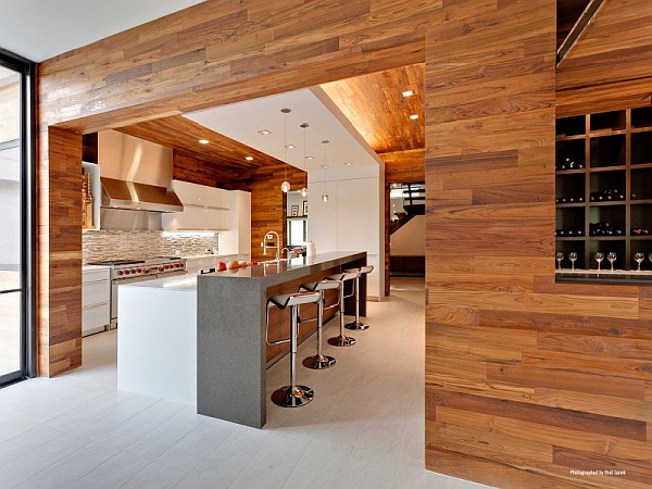 kitchen with wood placqued walls