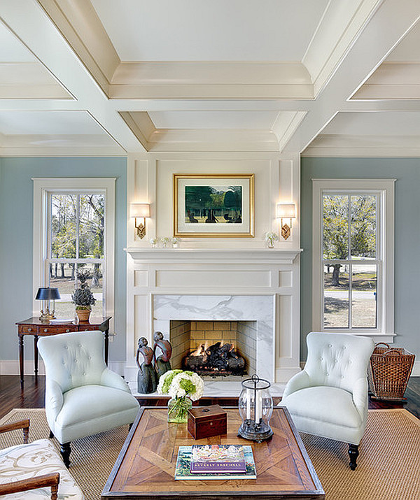 View In Gallery Light Blue Walls And Fancy Coffered Ceiling
