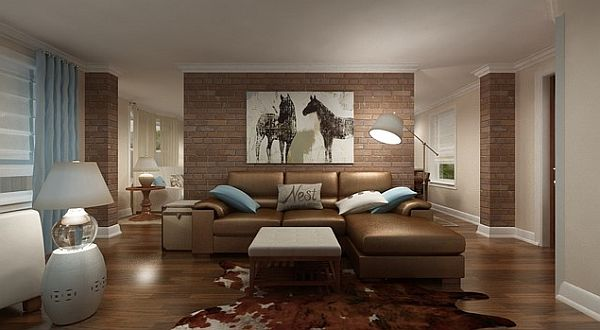 living room with exposed brick wall