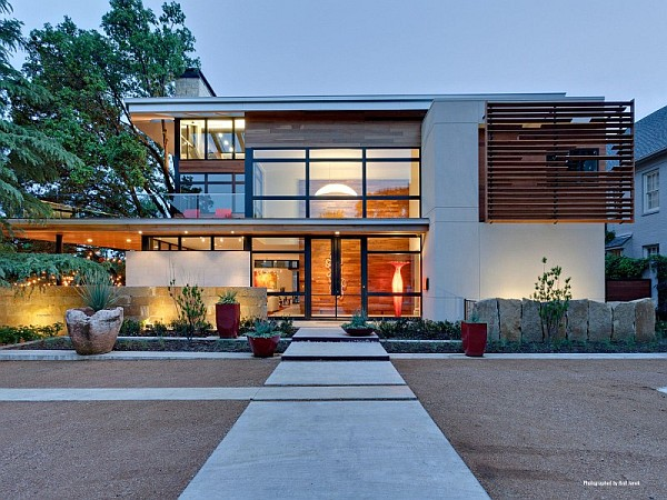 modern clean lines home Striking Luxurious & Sustainable Home on Caruth Boulevard in Dallas