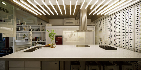 modern kitchen with geometric design