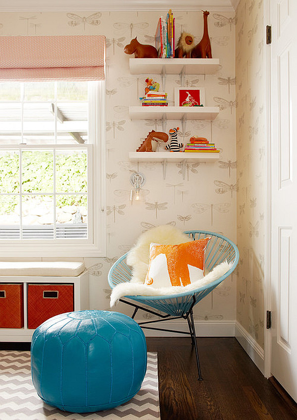 modern nursery room with red and turquoise