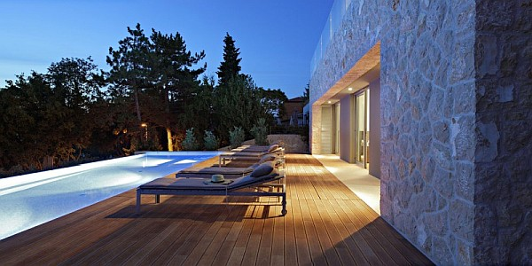 pool lights and wooden decked terrace