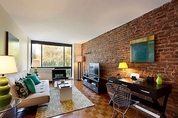 View In Gallery New York Loft With Real Exposed Brick Wall Living Room