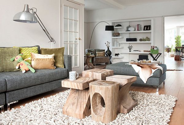 View In Gallery Sculpted Logs As Coffee Table Bright Living Room Design