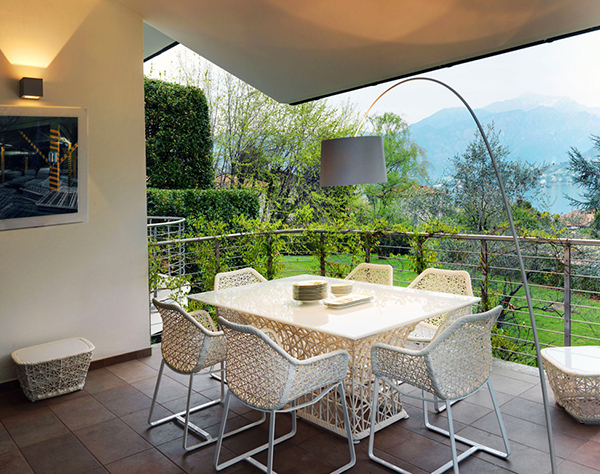small terrace with dining table