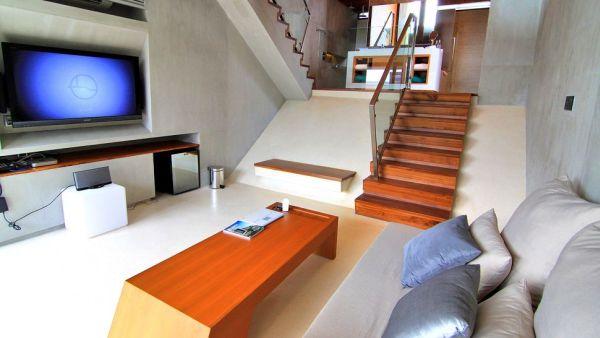 stylish living room in beachfront villa