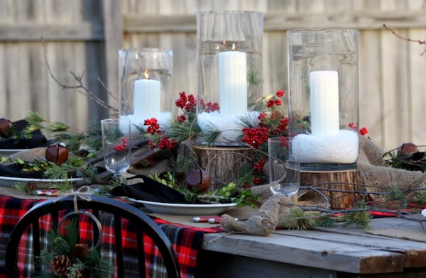 Outdoor festive holiday decor for your home - Interesting tables capes for christmas providing cozy gathering space ...