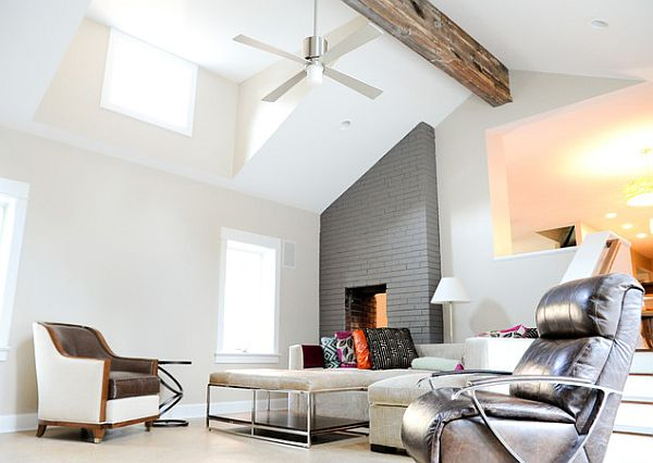 ultra modern living room with exposed wooden beams 5 Inspiring Ceiling Styles for Your Dream Home
