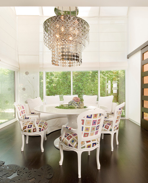 white dining chairs with bold colorful patterns perfect dining chairs