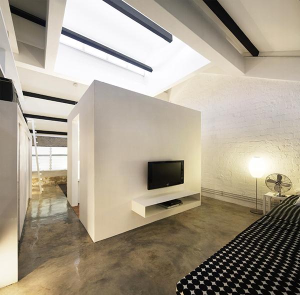 white industrial loft decor