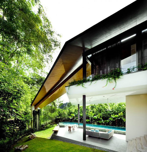 winged house tropical landscaping