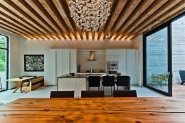 wooden beams ceiling in the kitchen