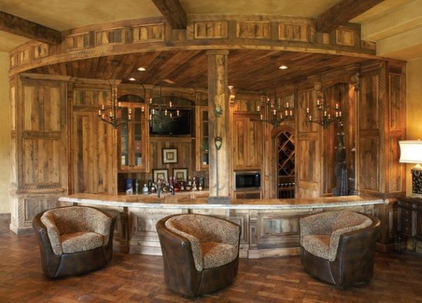 a classic creation for those who love a wooden atmosphere - Basement Bar Design Ideas