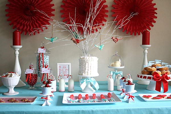 A colorful Christmas dessert table