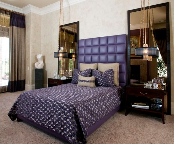 Alluring master bedroom with tufted headboard in brilliant and bright violet