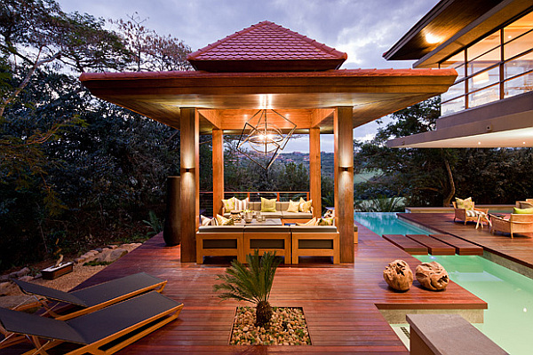 Asian inspired outdoor terrace with pool and wooden deck