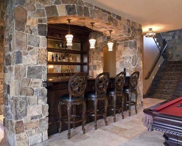 Awesome home bar encased in stone