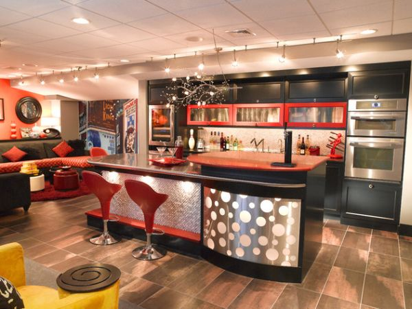 view in gallery basement bar with a funky and vivid theme from the 70s - Home Bar Designs Ideas