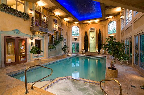 Creating an indoor luxury spa room at home for Beautiful house designs with swimming pool