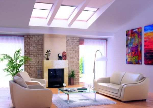 Beautiful living room design with skylights incorporated decoist - Beautifull rooms ...