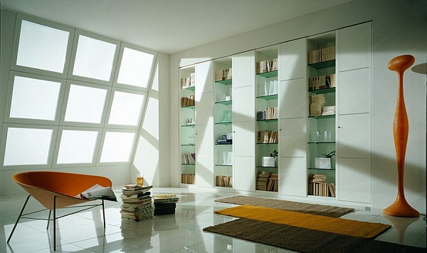 Beautiful study room with contemporary bookshelves