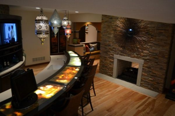 Beau Awesome Home Bar Encased In Stone View In Gallery Beautifully Lit Counter  Steals The Show Here!