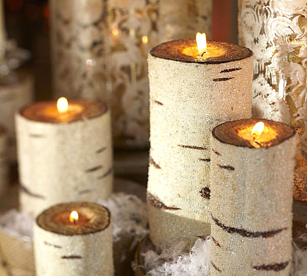 Birch Christmas candles