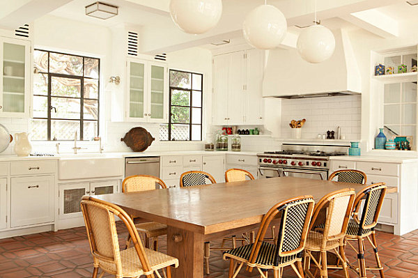 Bistro chairs combined with a long dining table