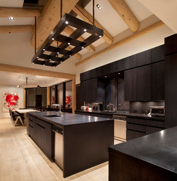 Modern Maple Cabinets With Dark Wood Floor: Black Kitchen Furniture And Edgy Details To Inspire You