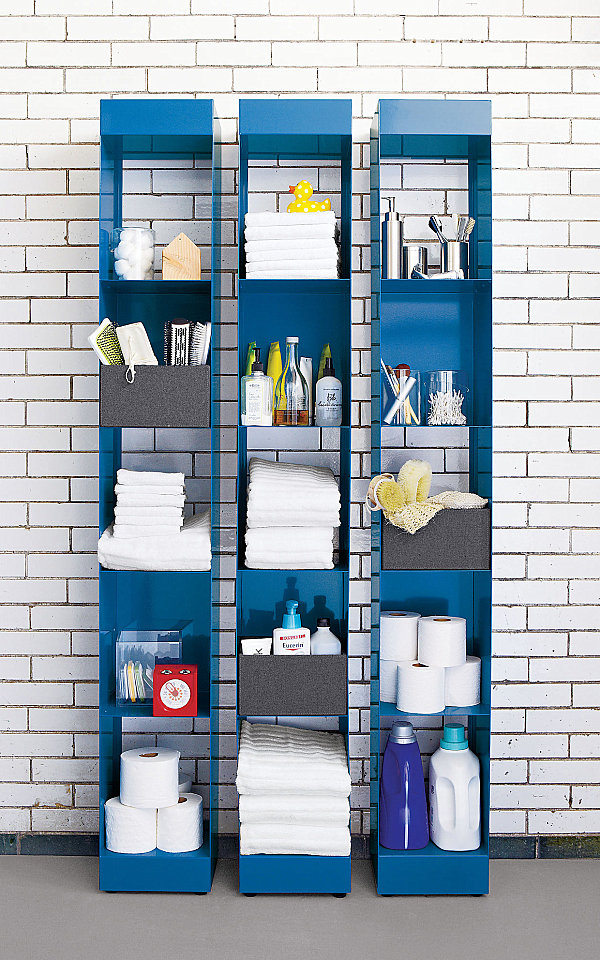 Blue metal shelving