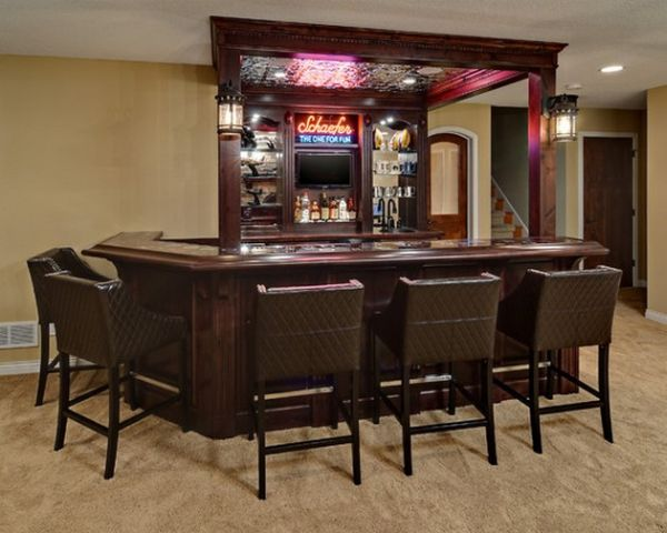view in gallery bright neon lights give this home bar a retro look - Bar Design Ideas For Home