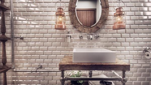 Brilliant oval mirror set against a brick wall design