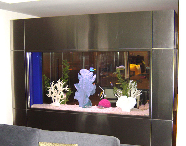 Built-in fish tank with metallic edging