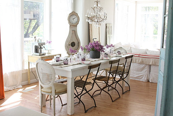 Cafe Chairs In A French Farmhouse Dining Room Decoist