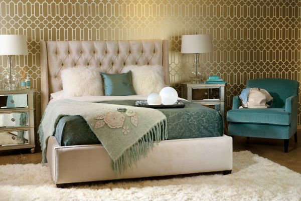 34 gorgeous tufted headboard design ideas - Blue bedroom wallpaper ideas ...