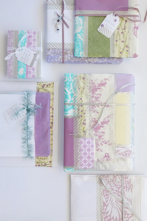 Christmas gift wrap in soft shades